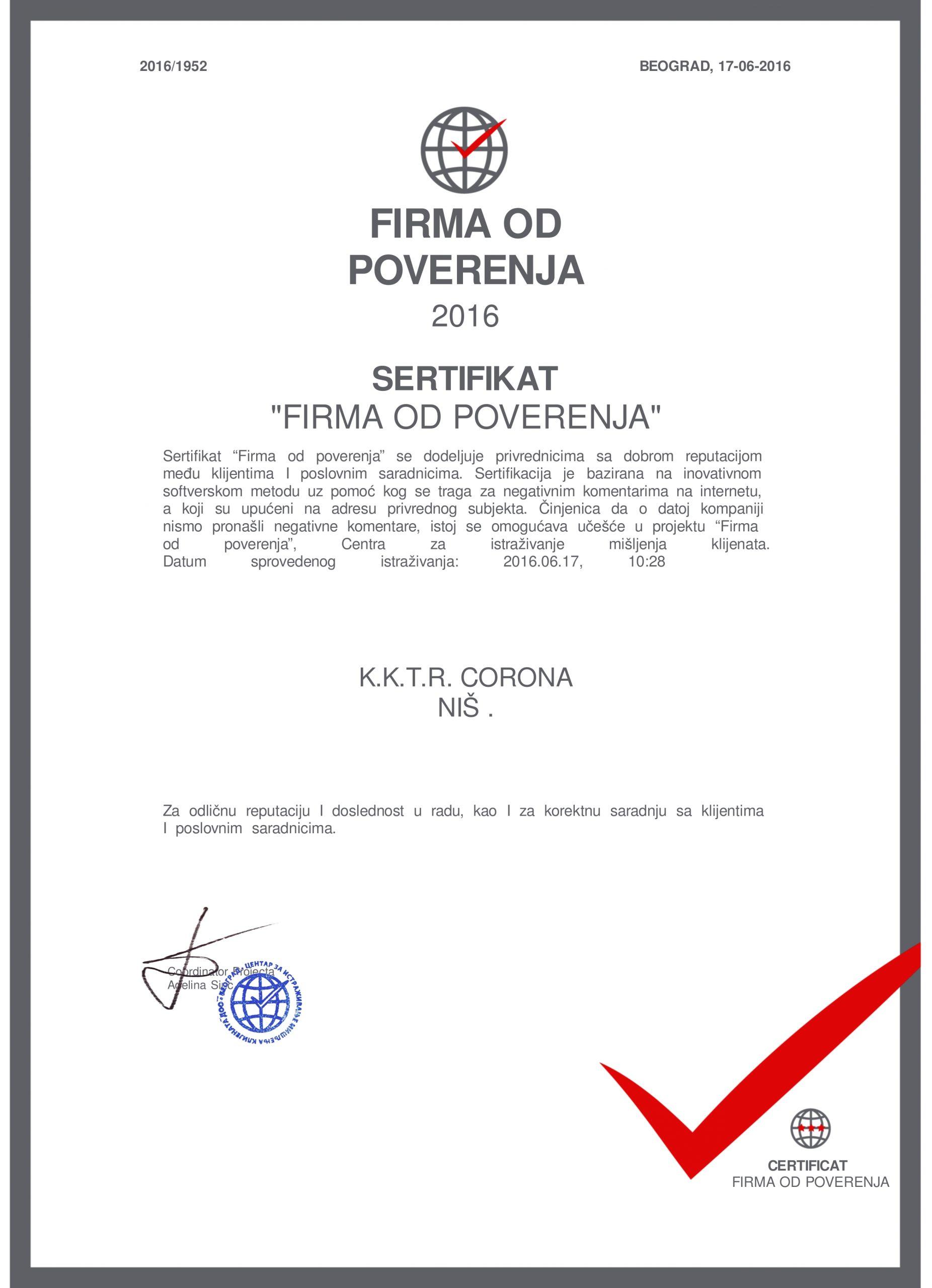 Corona Ergo firma od poverenja